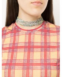 we11done Metallic Embellished Double Strap Choker