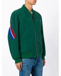 メンズ Facetasm ストライプパネル ボンバージャケット Green