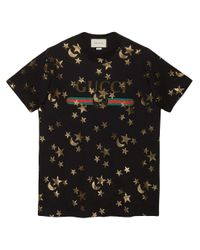 Gucci Black T-shirt With Stars And Moon Print