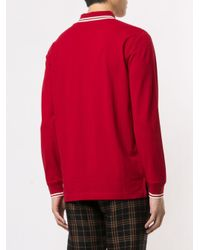 メンズ Kent & Curwen ロングスリーブ ポロシャツ Red