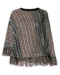 M Missoni | Black Fringe Knit Poncho | Lyst