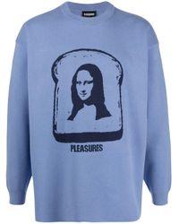 Pleasures Blue Mona Toast Knit Jumper for men