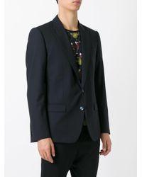 Dolce & Gabbana Blue Peaked Lapel Blazer for men