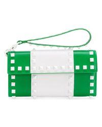 Valentino Green Garavani Rockstud Free Wallet