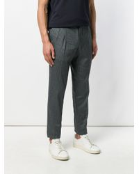 PT01 Gray Striped Cropped Trousers for men