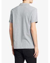 Burberry - Gray Tartan Trim Detail Polo Shirt for Men - Lyst