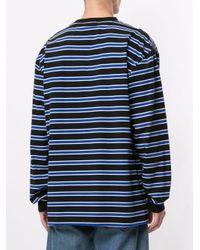 メンズ Pleasures ストライプ スウェットシャツ Blue