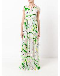 Si-jay Green Abstract Print Dress