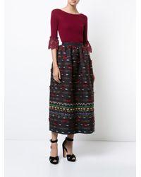 Oscar de la Renta - Blue Tassel Embroidered Skirt - Lyst