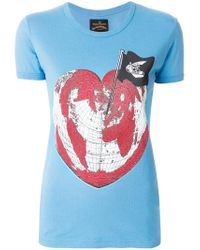 Vivienne Westwood Anglomania - Blue Heart World Print T-shirt - Lyst