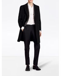 Burberry - Black Double-breasted Tailored Coat for Men - Lyst