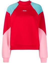 MSGM カラーブロック スウェットシャツ Red