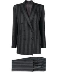 Полосатый Костюм С Двубортным Пиджаком И Брюками Tagliatore, цвет: Gray