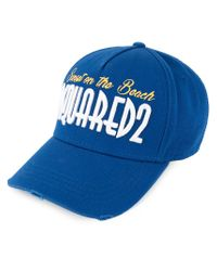 DSquared² Blue Sunset On The Beach Embroidered Baseball Cap for men
