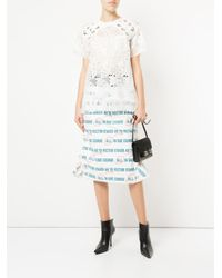 Sacai - White Embroidered Laced Shoulder T-shirt - Lyst