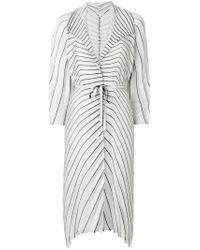 Issey Miyake - Gray Striped Pleated Cardi-coat - Lyst