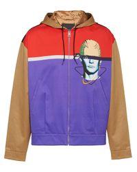 Prada Brown Graphic Print Hooded Bomber Jacket for men
