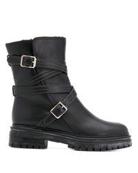 Ботинки На Массивном Каблуке С Пряжками Gianvito Rossi, цвет: Black