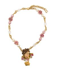 Dolce & Gabbana - Multicolor Cherub Rose Necklace - Lyst