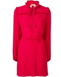 N°21 ラッフル ボウタイ ドレス Red