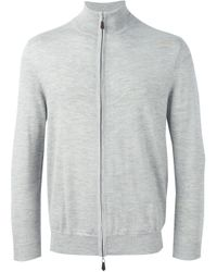 Felpa con zip 'The Hyde' di N.Peal Cashmere in Gray da Uomo