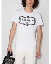 メンズ Balmain ロゴ Tシャツ White