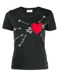 RED Valentino Black T-Shirt mit Herz-Print