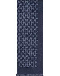 Écharpe à motif GG Gucci pour homme en coloris Blue