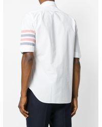 Thom Browne White Woven 4-bar Armband Poplin Shirt for men