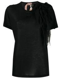 T-shirt con ruches di N°21 in Black