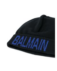 Berretto con logo glitter di Balmain in Blue