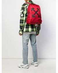 Zaino con logo di Off-White c/o Virgil Abloh in Red da Uomo