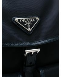 Prada - Blue Leather-trimmed Backpack - Lyst