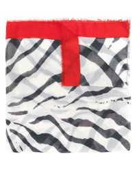Lanvin White Zebra Print Scarf