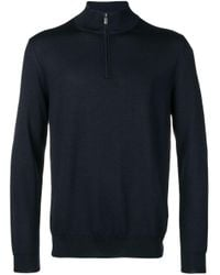 Canali - Blue Zipped Knit Sweater for Men - Lyst