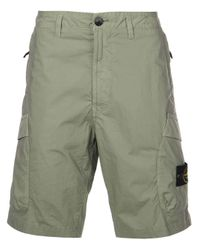 Stone Island Green Logo Patch Cargo Shorts for men
