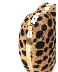 Saint Laurent Brown Leopard Print Love Box Clutch