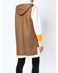 Maison Ullens Brown Shearling Hooded Gilet