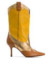 Marc Ellis Yellow Colour-block Pointed Boots