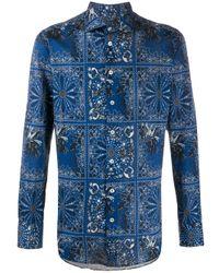 Etro Blue Floral-print Piqué Shirt for men