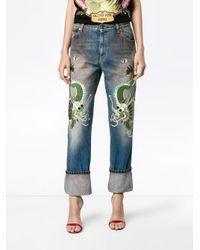 Gucci ドラゴン刺繍 ストレートジーンズ Blue