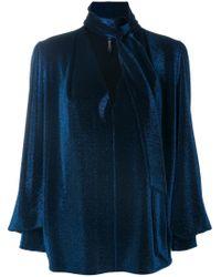 Plein Sud | Blue Metallic Neck-tied Blouse | Lyst