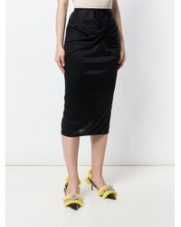 N°21 Black Knot Front Pencil Skirt