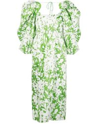 Rosie Assoulin Madame Butterfly パフスリーブドレス Green