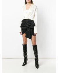 Magda Butrym Black Asymmetric Draped Mini Skirt