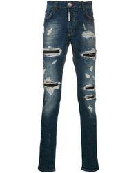 Philipp Plein Gerade Jeans im Destroyed-Look in Blue für Herren