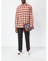 Gucci - Blue Kingsnake Print Striped Clutch for Men - Lyst
