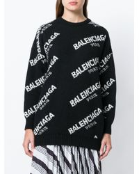 Jersey con logo en jacquard Balenciaga de color Black
