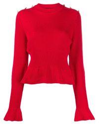 Alberta Ferretti フレアカフス セーター Red