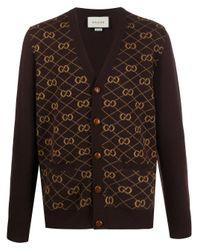 Cardigan GG Gucci pour homme en coloris Brown
